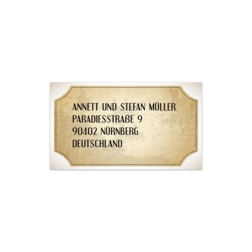 Hochzeit Absenderaufkleber Adressaufkleber Etikett Label Vintage Brautpaar Weiß