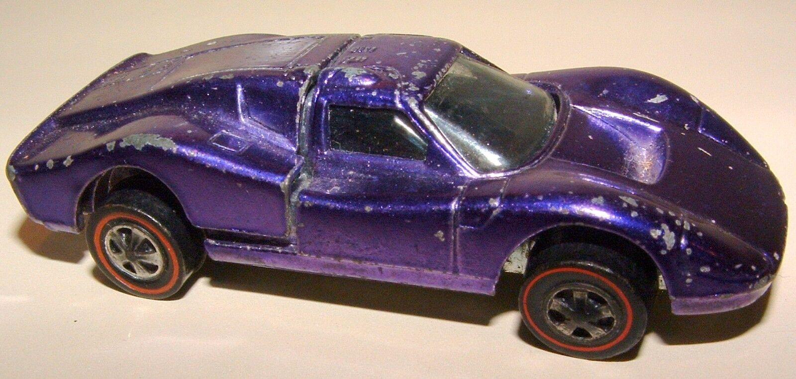 1968 Mattel EEUU Hot Wheels rojo Line Ford Mk.IV Morado Metálico Hood Abre Coche