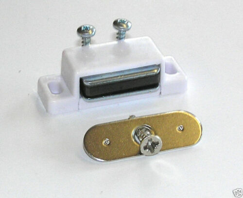 Packung 2 Weiß Magnetisch Schrank Tür Fänge Schrauben Mit 2kg Zug