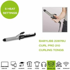 Brand-New-Babyliss-2287BU-Curl-Pro-210-Curling-Tong-210C-Black-Silver