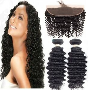 Premium-Human-Hair-Deep-Wave-Natural-Black-2-Bundles-With-13x4-Lace-Frontal