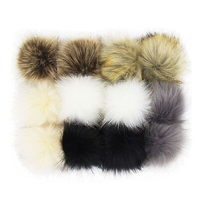 "DIY 12Pcs 4"" Pom Pom Balls Faux Fox Fur Fluff Balls for Pom Pom Hat Accessories"