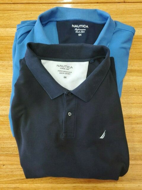 Lot of 2 Nautica Men's Size 6XL Big and Tall Polo  shirts Black, and Blue