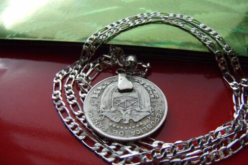"""1961 CONQUISTADOR PANAMA CUARTO COIN PENDANT  on a 26/"""" .925 SILVER CHAIN"""
