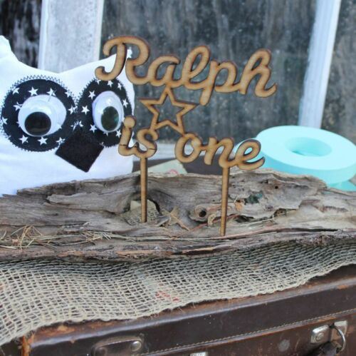 Personalised Happy Birthday Cake Topper with Name /& Age Stars Rustic Kids Party