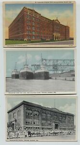 2-1910-1920-039-s-era-amp-Linen-Indiana-Harbor-Indiana-Postcards