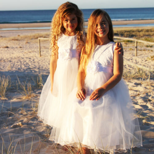 New WHITE Flower Girl Dress Communion Confirmation Junior Wedding LACE TULLE