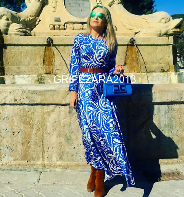 292a7f0b6b ZARA LONG PRINTED DRESS FLOWING A-LINE BLUE XS,S,M,L REF.2163/645 BLOGGERS  FAV. | eBay