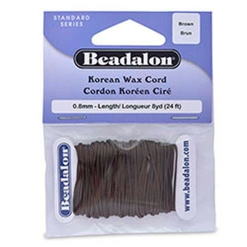 Beading Cotton Waxed Cord 0.8 mm Brown color  8 yards 24ft