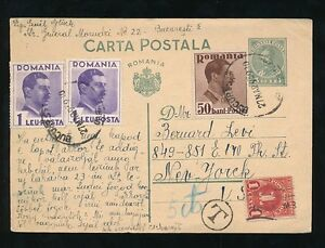 ROUMANIA 1939 STATIONERY CARD to USA + POSTAGE DUE 1c NY...5c T