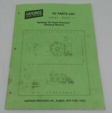 Hardinge Hc Chucking Lathe Parts List Manual Original