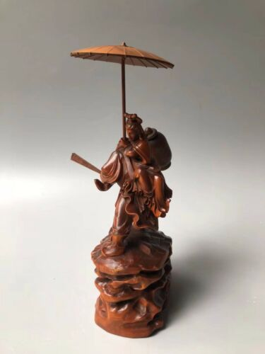 Chinese Antique Boxwood hand-carved Zhong Kui Sister married Home Decoration