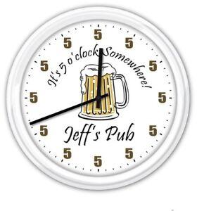 5-o-039-clock-Somewhere-Beer-Mug-PERSONALIZED-Pub-Bar-man-cave-Wall-Clock-GREAT-GIFT