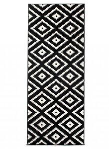 Area Rugs Runners Black White Geometric Trellis Pattern Carpet Kitchen Hall Ebay