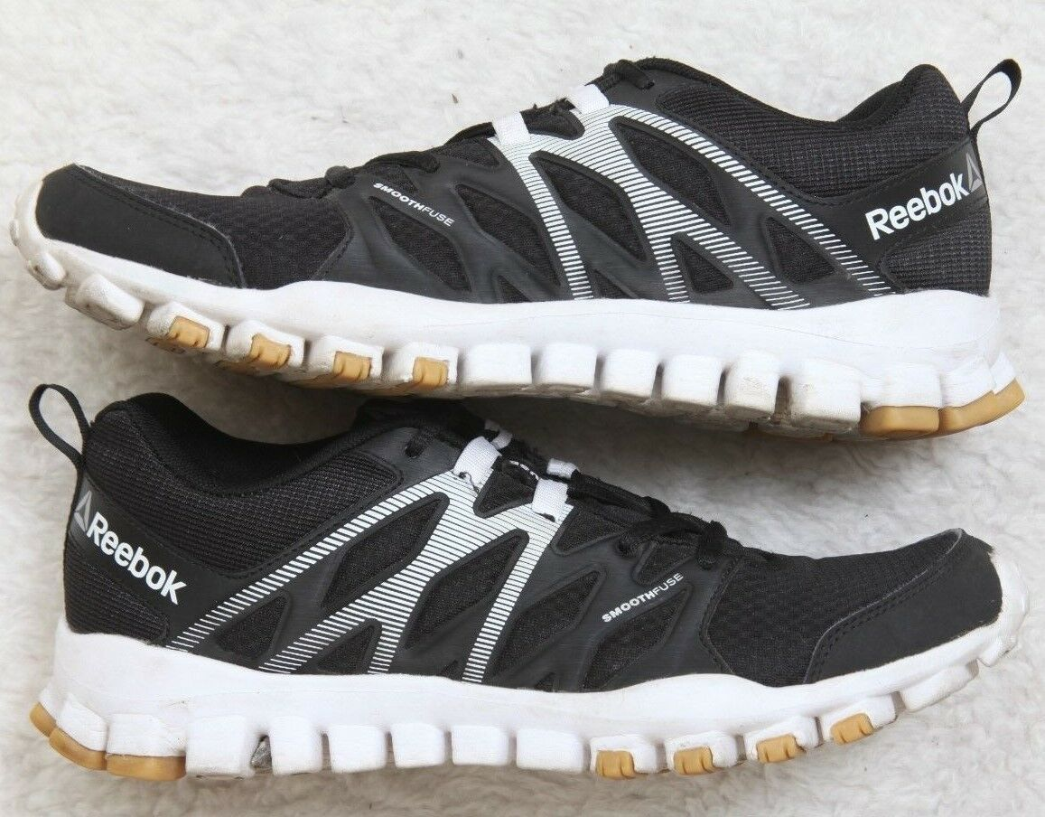 Reebok Smooth Fuse Running Athletic Shoes 8.5 8.5 8.5 Eight 1/2 39 European Black White 34447c