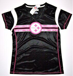 0a884a50 Detalles acerca de Pittsburgh Steelers Mujer me borrador rosa cancer  awareness Moda Camisa Jersey- mostrar título original