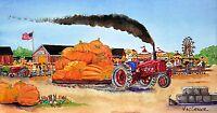 Tractor Pulling Giant Pumpkin Art Print Farmall Sled Garden Farm Country Fair