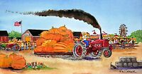 Tractor Pulling Giant Pumpkin Art Print Farmall Sled Garden Farm Country Fair
