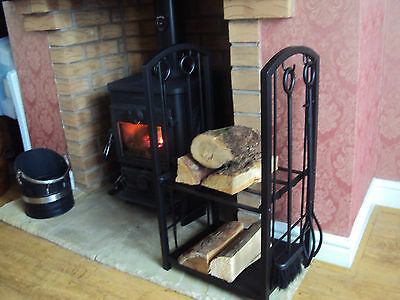 Log Station Logs Holder & Tools Store Kindling Black Metal Fireplace Stove