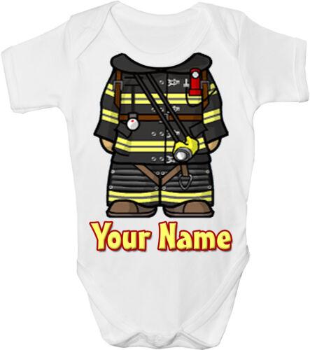 GRO //BODYSUIT FIREMAN FIREFIGHTER BODY PERSONALISED BABY VEST *GIFT /& NAMED*