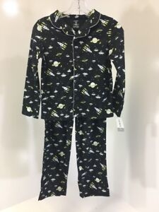 f813b0997 CARTER S BOYS 2-PIECE FLEECE SPACE PJ SET BLACK WHITE YELLOW SIZE 10 ...