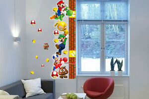 Details About Super Mario Height Chart Wall Sticker For Kid Room Children Growth Decal