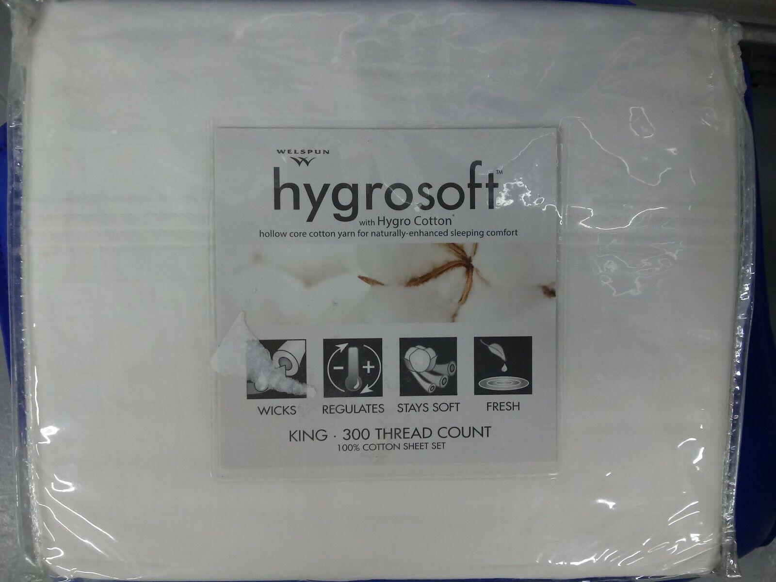 HygroSoft by Welspun 300 Thread Count Cotton Sheet Set. Größe King. Farbe Weiß