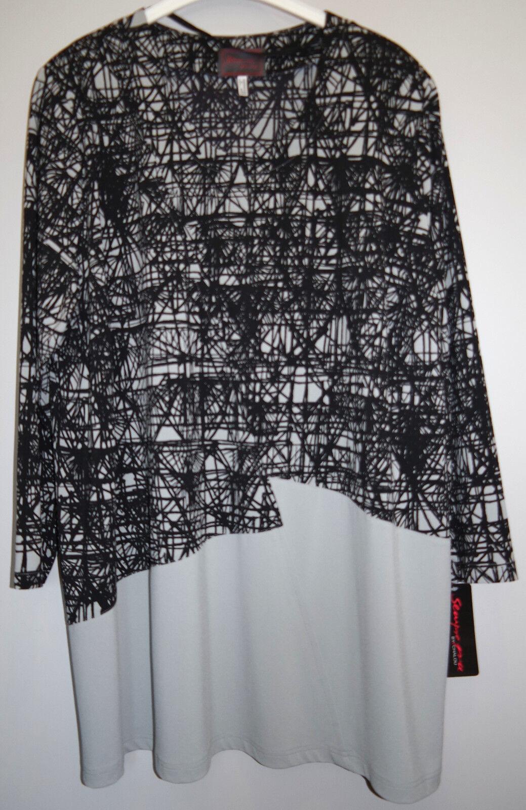 Shirt grau schwarz Gr.54 Marke Sempre Piu by Chalou Polyester rot.1 2 Preis