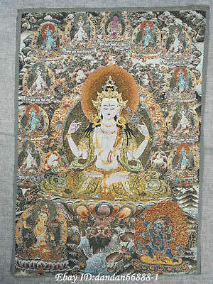 "24/"" Tibet Buddhism Cloth Silk lotus flower Tara Guanyin Thangka Embroidery Mural"