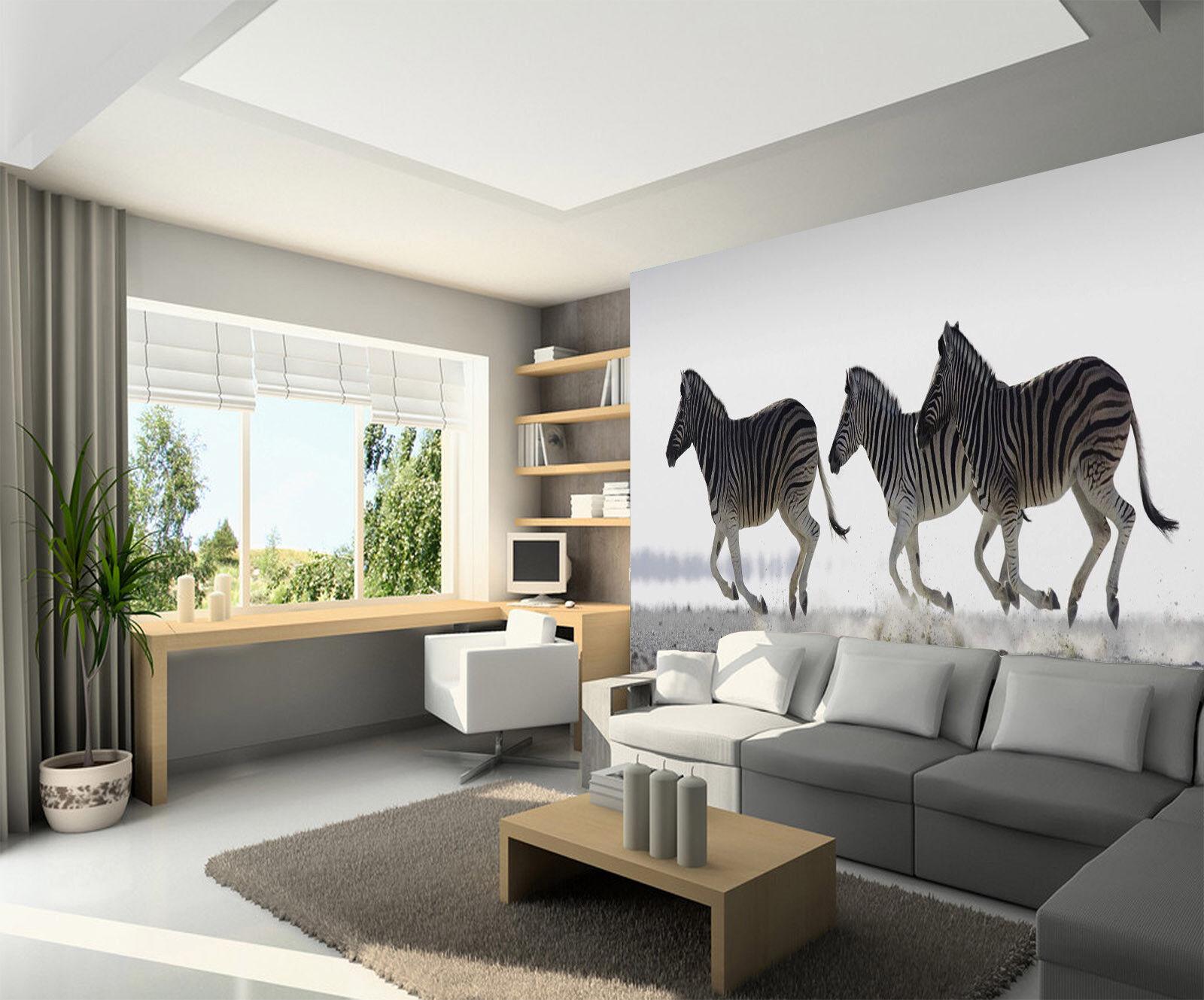 3D Drei Laufen Zebra 73 Tapete Wandgemälde Tapete Tapeten Bild Familie DE Summer   Wonderful    Online Outlet Shop    Modern Und Elegant In Der Mode
