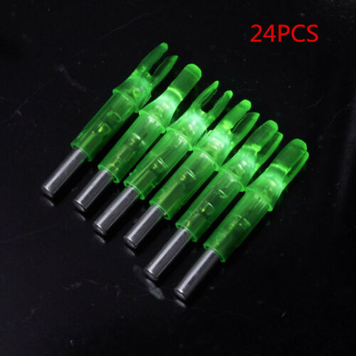 24PCS Shooting Archery Lighted Led Nock for Compound Bow Green//Red//Yellow//Blue