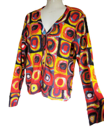 """Wassily Kandinsky:/"""" Farbstudie Quadrate/"""" Ladies CARDIGAN JUMPER Sweat-shirt"""