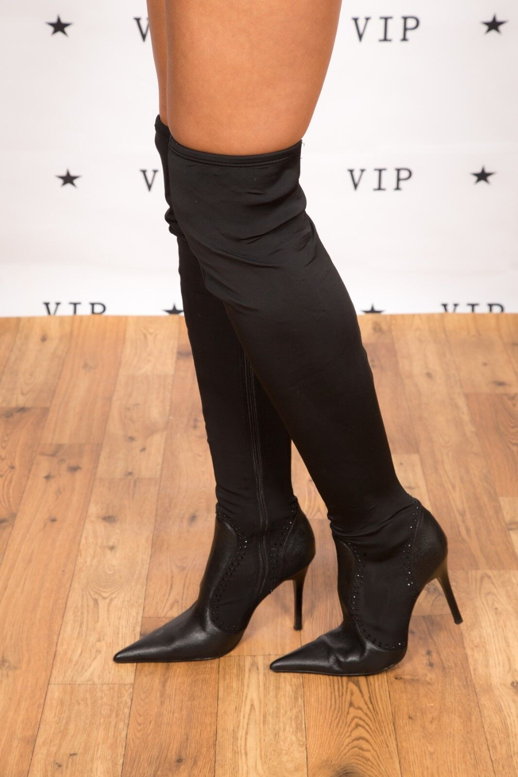 Sexy Negro Aspecto Húmedo encima de la rodilla Cristal Kate KUBA Tachonado Botas