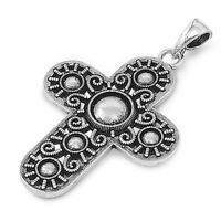 Plain Cross Pendant Sterling Silver 925 Height: 32 Mm Vintage Jewelry Gift