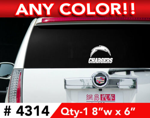 """SAN DIEGO CHARGERS DECAL STICKER 8/""""w x 6/""""h"""