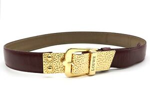 LOEWE-Vintage-Design-Buckle-Logo-Waist-Mark-Belt-Leather-Bordeaux-3791k