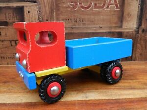 Vintage-Wooden-Colourful-Tipper-Truck-Lorry-Red-Blue-Yellow