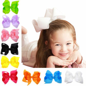 6-Inch-Large-Hair-Bow-Hair-Accessories-Kids-Grosgrain-Ribbon-With-Clips-Headwear