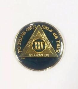 25-Year-AA-Sobriety-Coin-Medallion-Rich-Midnight-Blue-Enamel-25th-Year-XXV