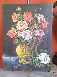 """Superbe ancien tableau peinture bouquet fleur sans cadre 1920 déco charme signé - France - Commentaires du vendeur : """"bel état général"""" - France"""