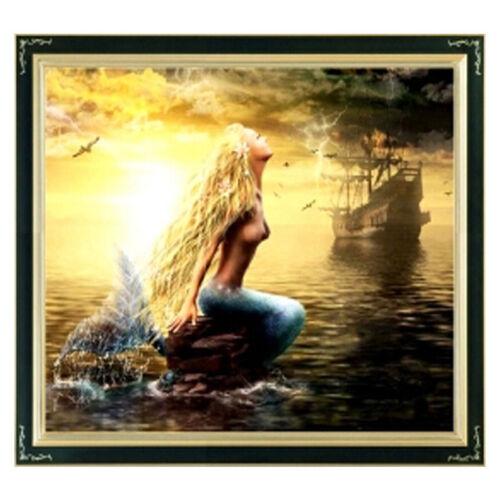 BNIP la sirena y enviar Cross Stitch Kit Pre-impresas 11ct Aida 63 X 51cm C
