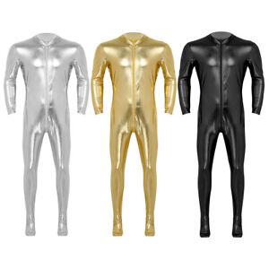 Herren-Glaenzend-Ganzkoerperanzug-Bodysuit-Langarm-Ganzkoerper-Body-Catsuit-Overall