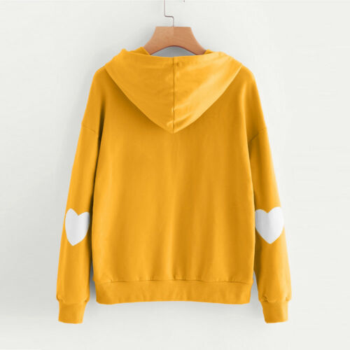 Women Winter Heart Hoodie Sweatshirt Hooded Jumper Sweater Pullover Tops US Sell