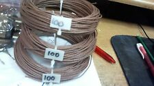 100ft Western Electric 20g cloth covered wire,BROWN, tiny red stripe
