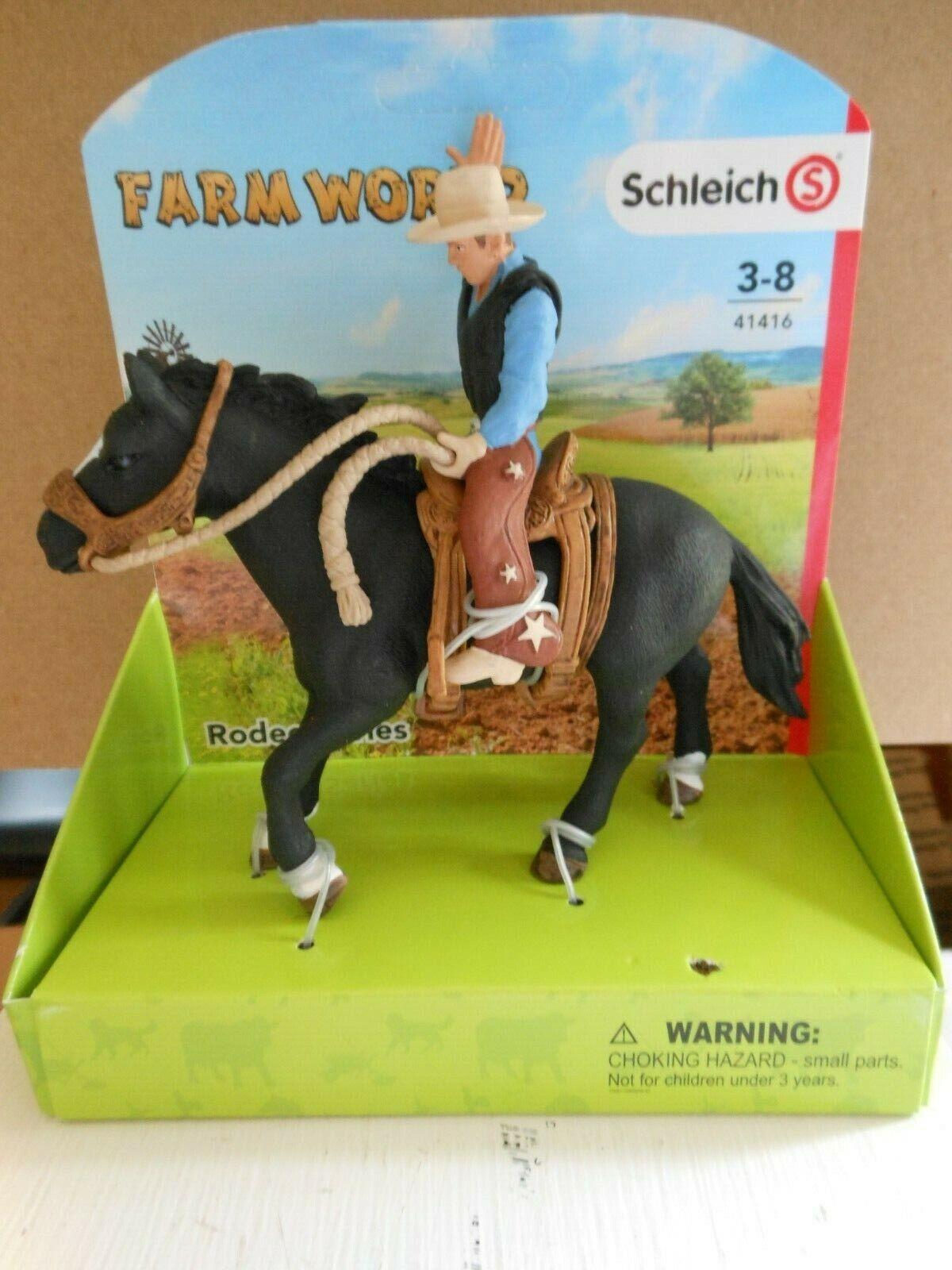 Plastic Figure Farm World 41419 Schleich Bull Riding with Cowboy