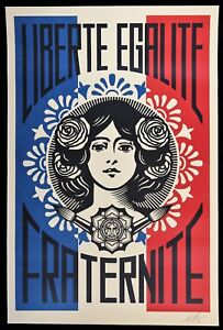 SHEPARD-FAIREY-Liberte-Egalite-Fraternite-LITHO-OFFSET-SIGNEE-OBEY-GIANT-MINT