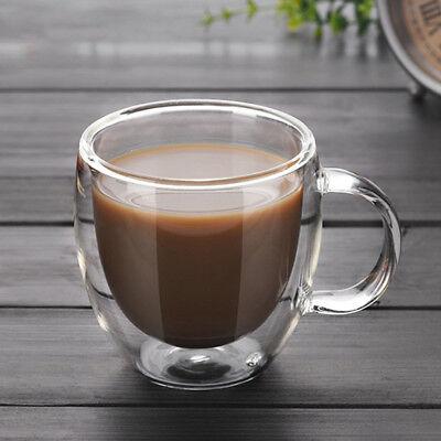 Vaso de vidrio de doble pared Térmico Café Latte Cappuccino Taza Gafas 150ml