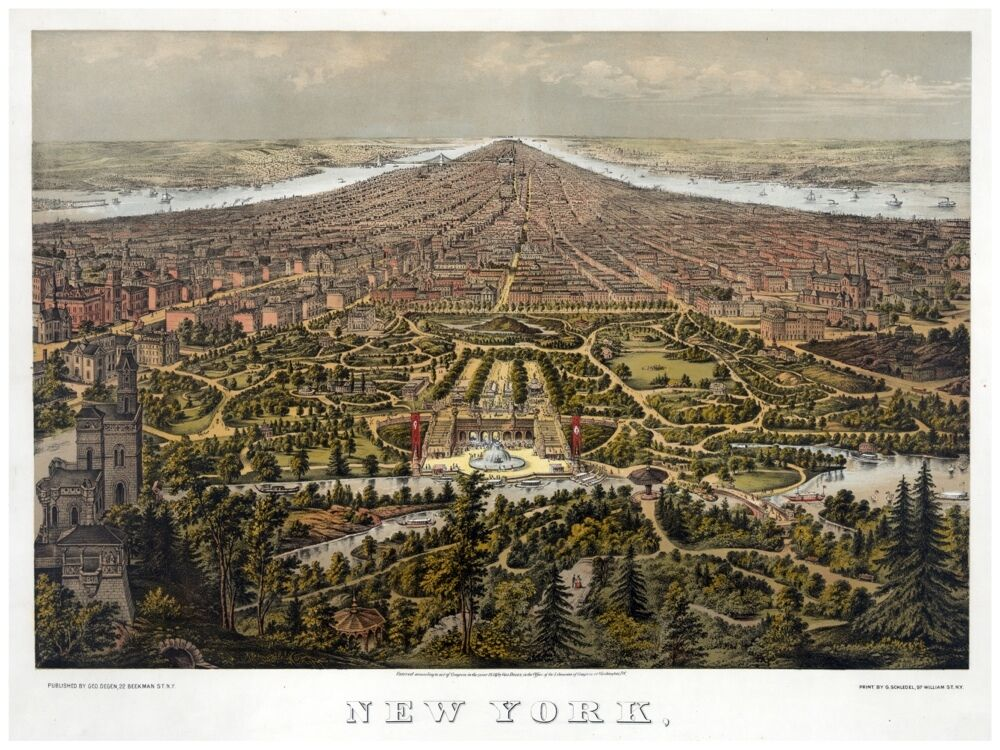 8004.New York.Early days.bird's eye view.not many buildingsPOSTER.art wall decor