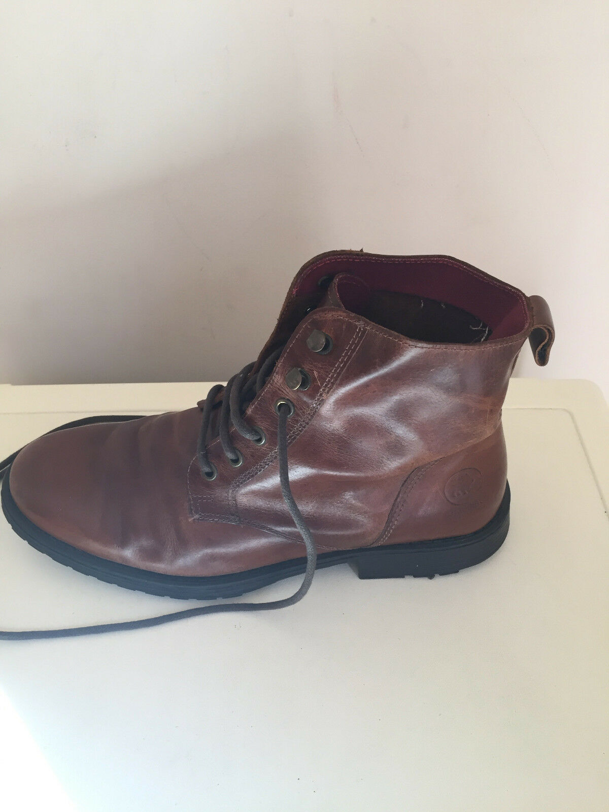 MEN LEATHER BROWN JACK & JONES CHELSEA ANKLE Stiefel SIZE 8