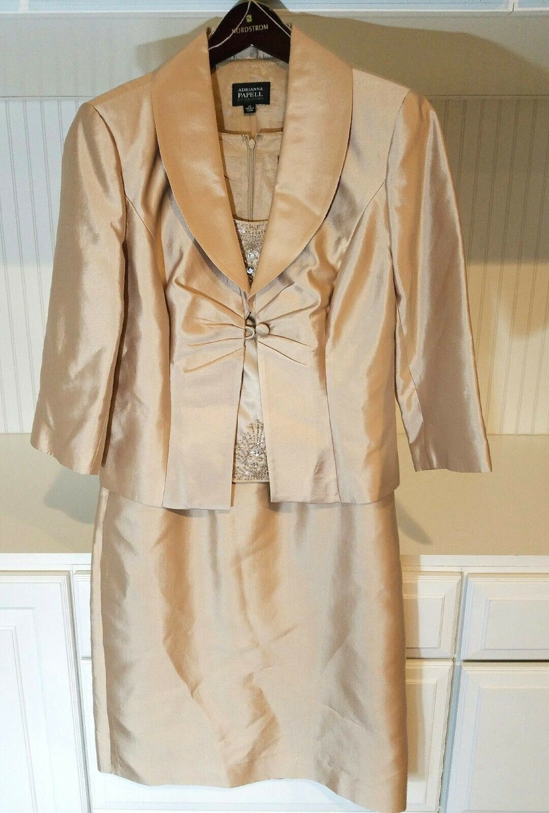 Adrianna Papell Size 10 2 Piece Set Dress Suit Jacket Silk Mother Bride Gala